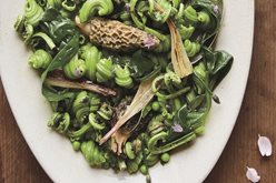 Sunday Paper Dinner Table: Ramp Top Pasta with Morels and Fiddleheads Image